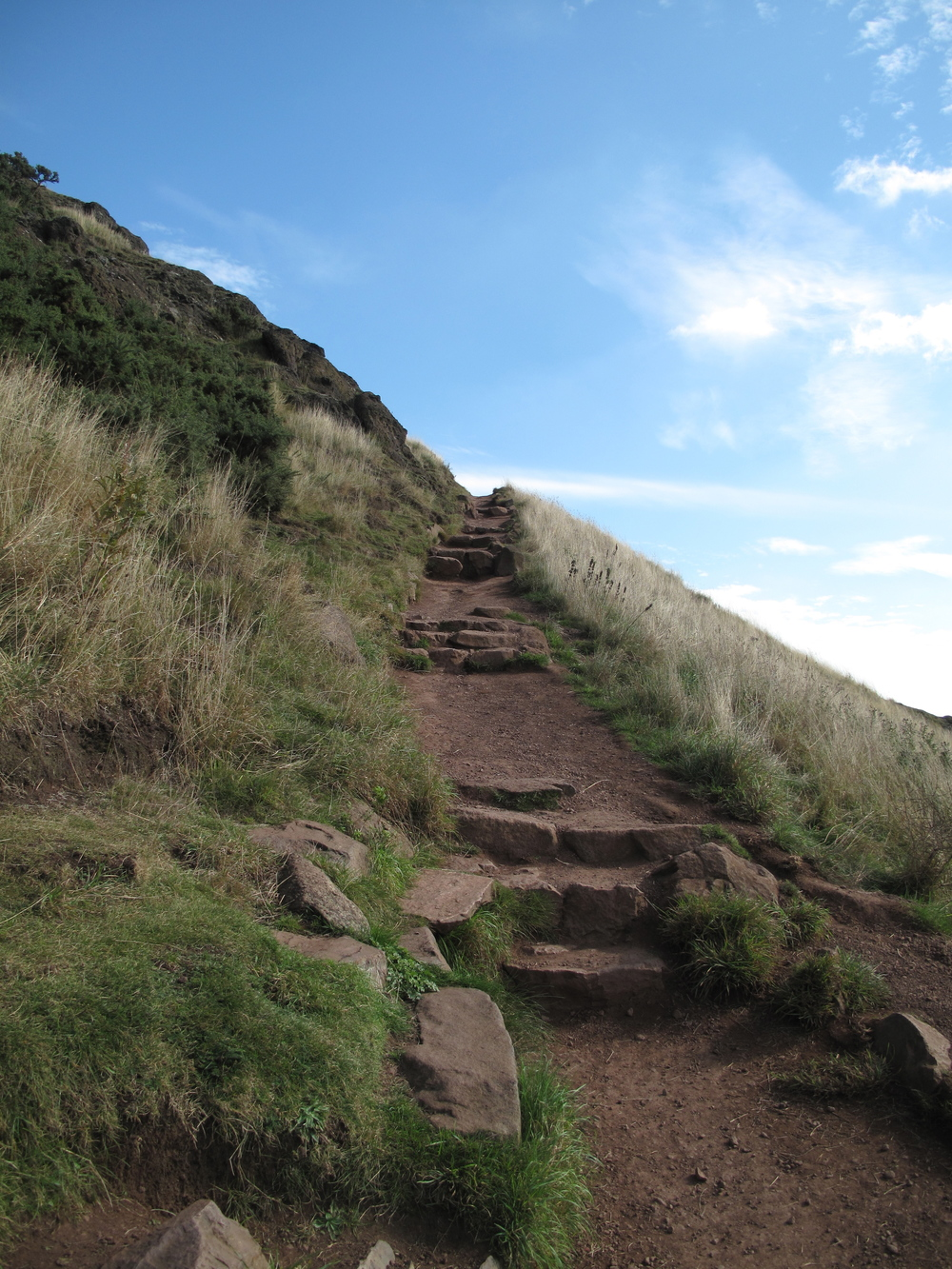 Path leading up to Arthur's Seat through Holyrood Park.