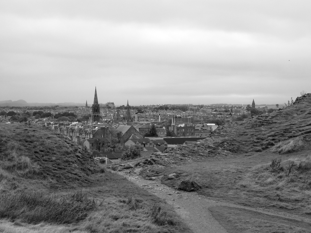 Holyrood's paths looking over Edinburgh.