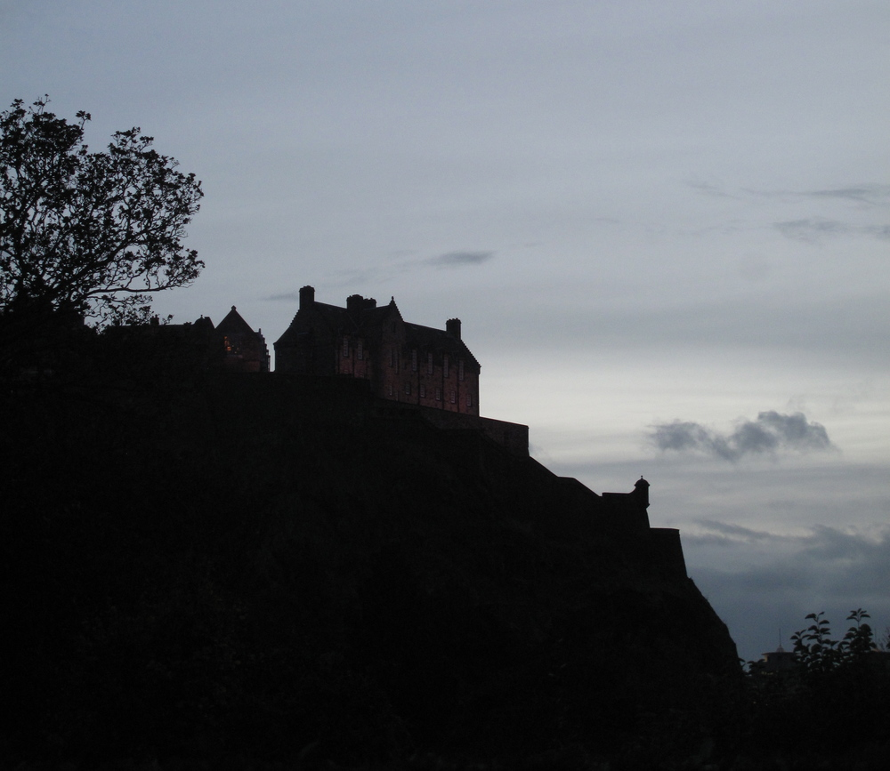 Edinburgh Castle on the hill - silhouette at dusk.