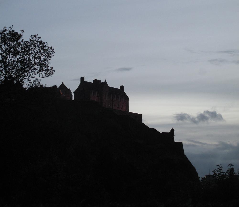 Edinburgh Castle on the hill - silhouette at dusk.