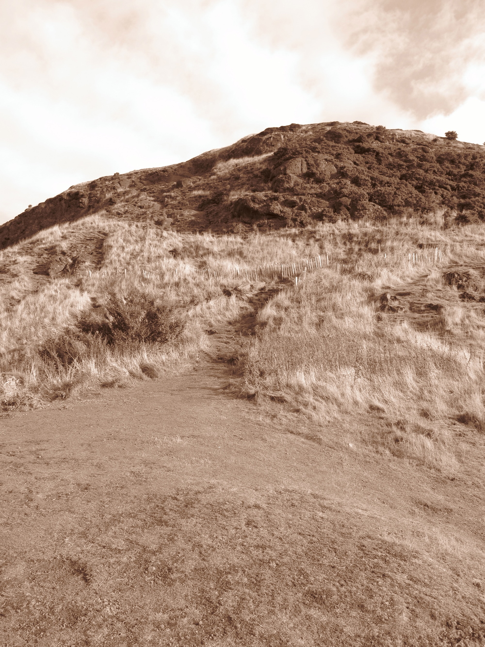 Path the Arthur's Seat, in sepia tones, Edinburgh.