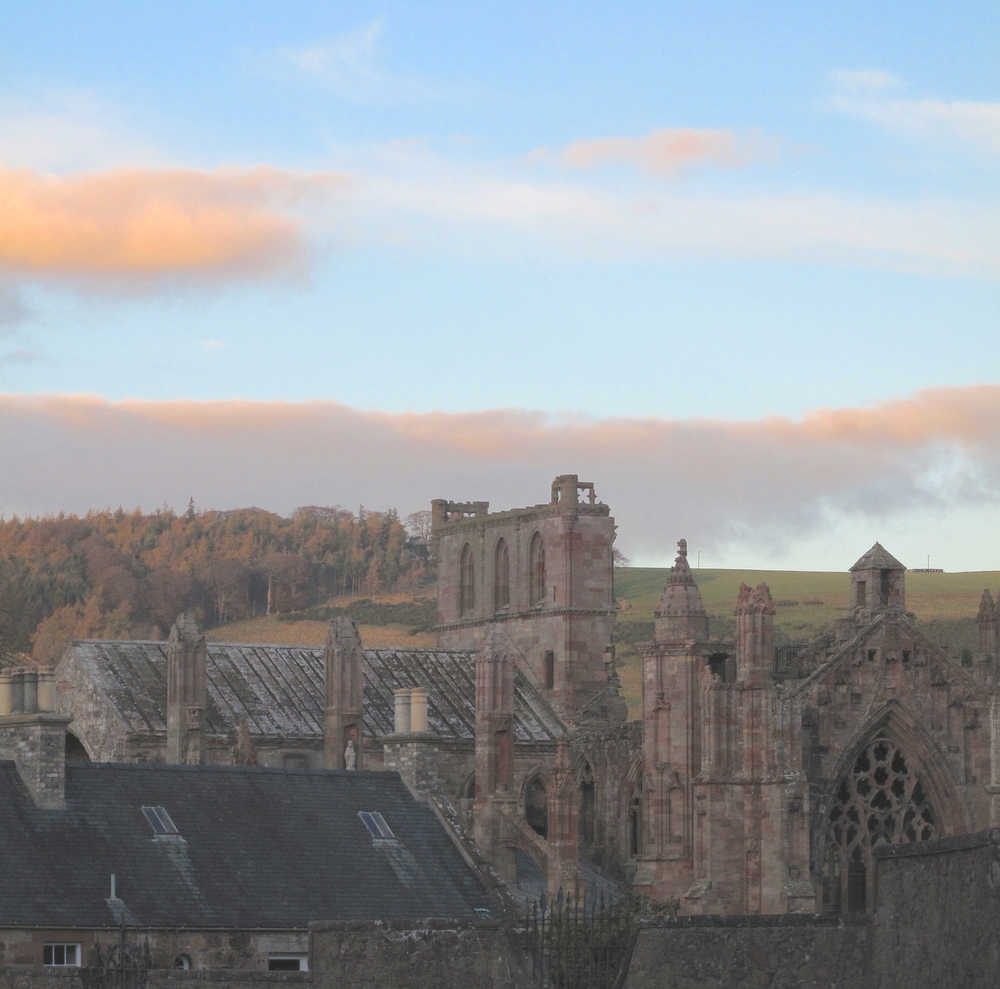 Melrose Abbey in the half light of evening.