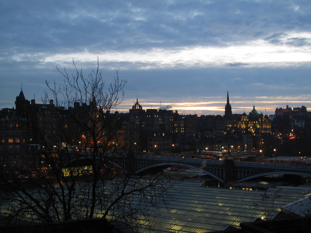 View of Edinburgh's train station and Old Town from Old Calton Cemetery.