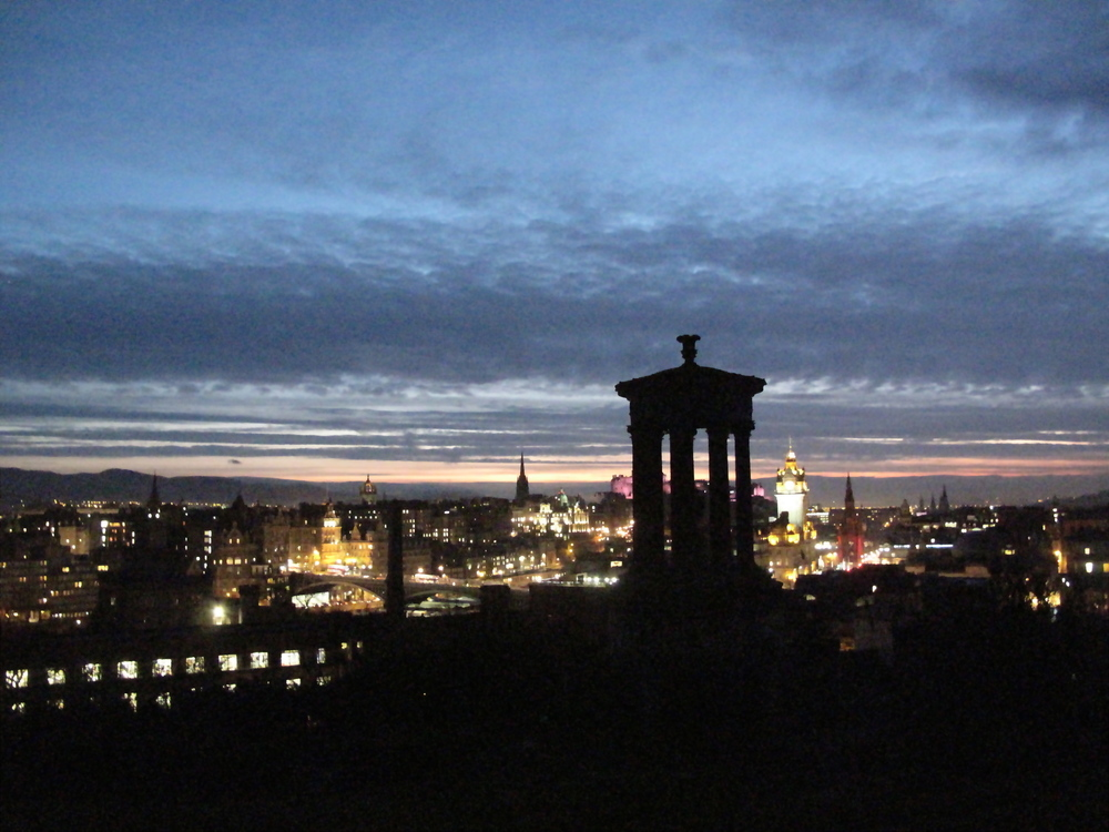 Calton Hill, at night, Edinburgh.