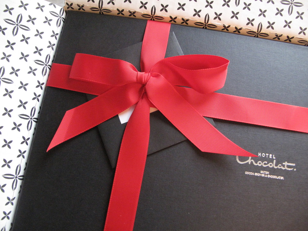 Christmas chocolate box from Hotel Chocolate - wrapping and ribbons.