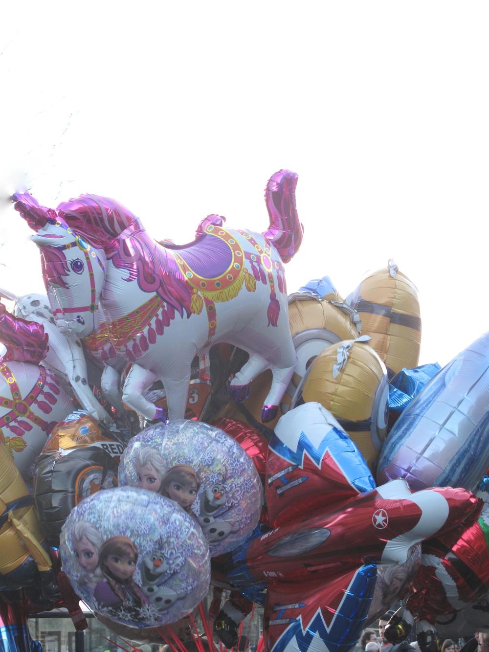 Helium balloons of unicorns.