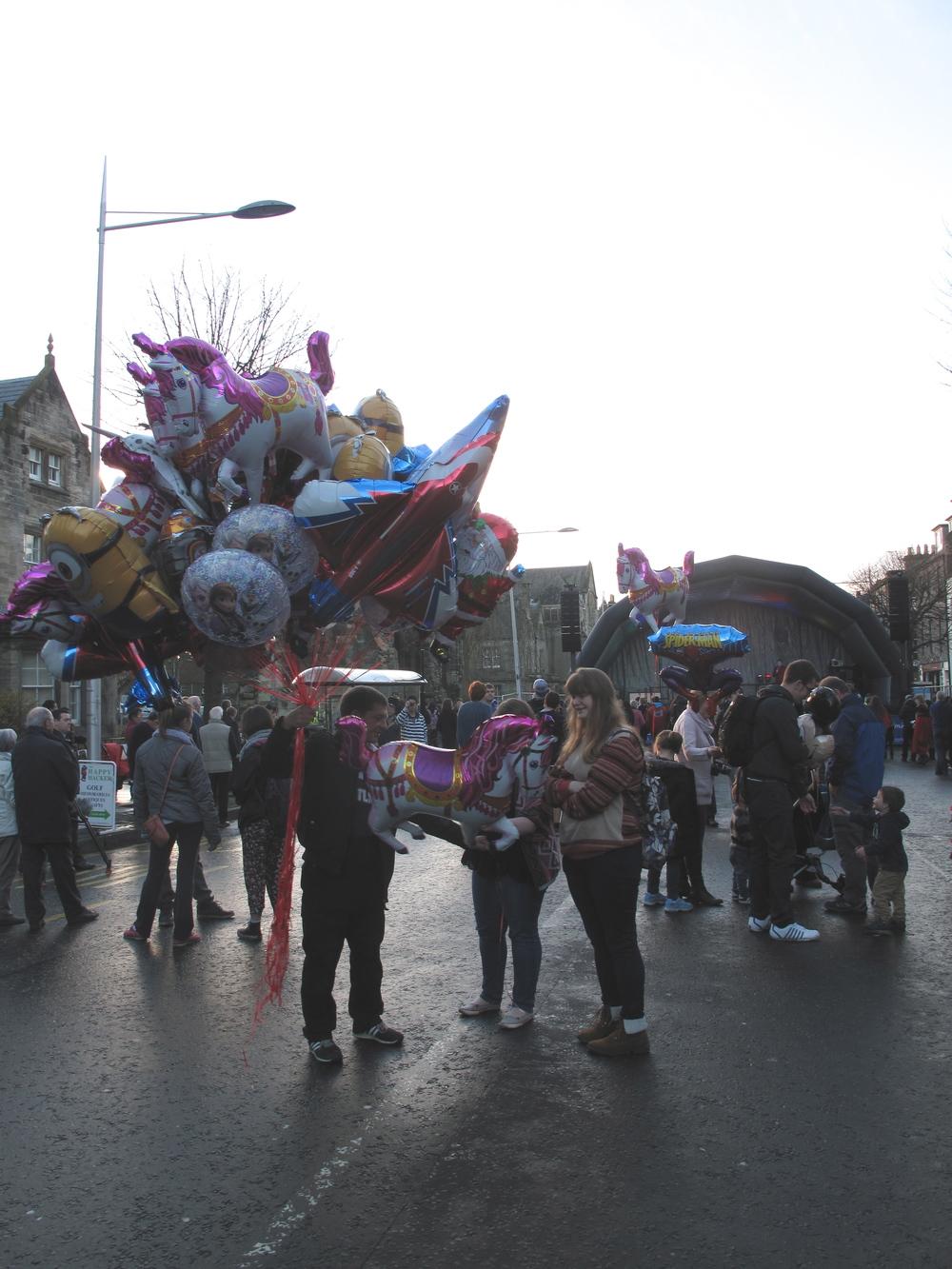 Balloon seller in St Andrews on St Andrew's day.