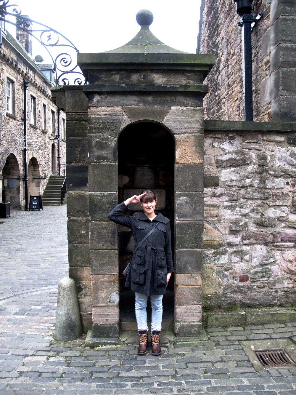 Saluting like a guard at Edinburgh Castle