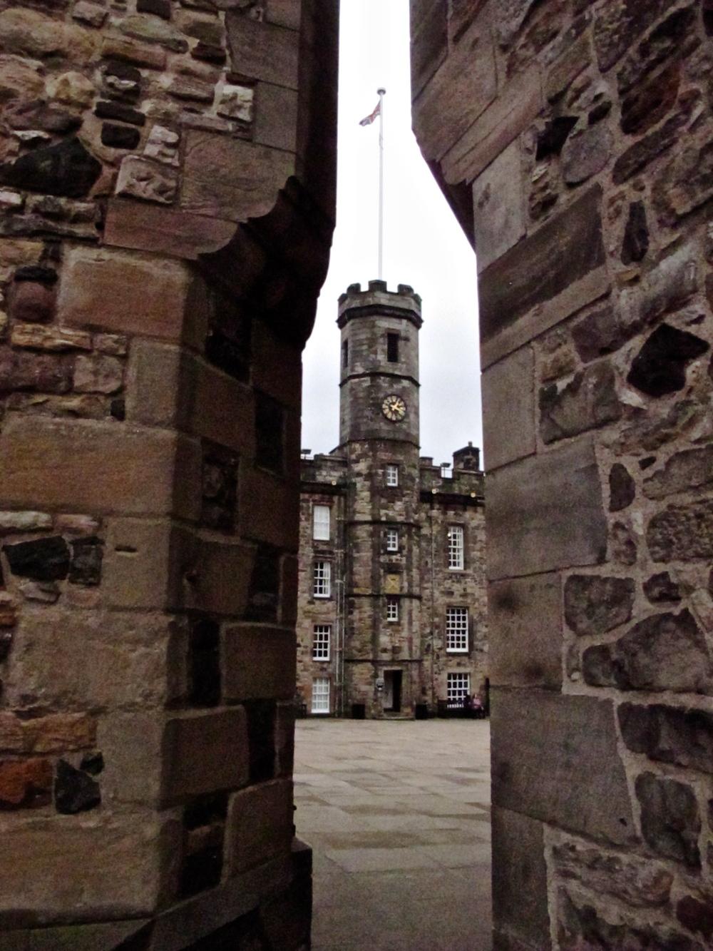 Tower seen through a walkway, Edinburgh Castle.