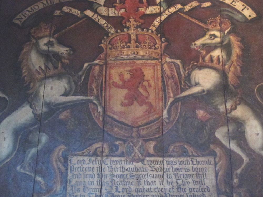 Medieval painting of Scottish unicorns and declaration.