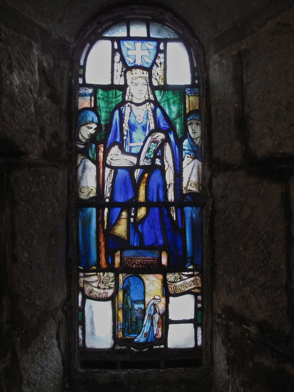 Stained glass window in the old chapel in Edinburgh Castle.