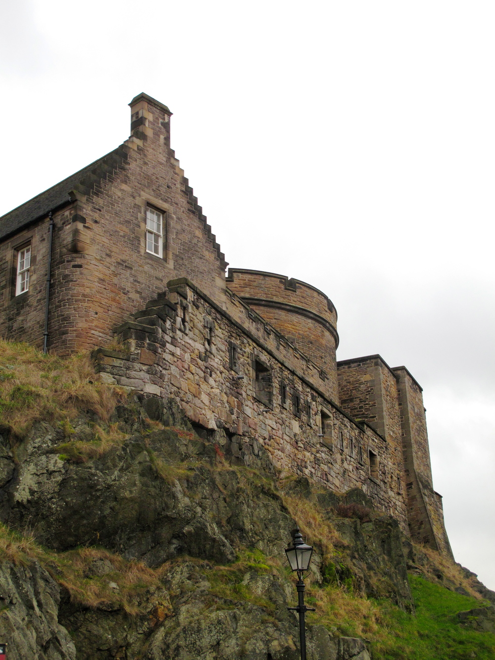 Stone buildings inside the walls of Edinburgh Castle.