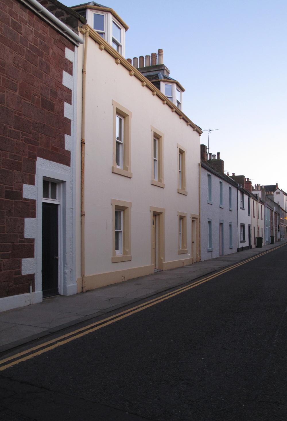 Coloured sea port houses in North Berwick