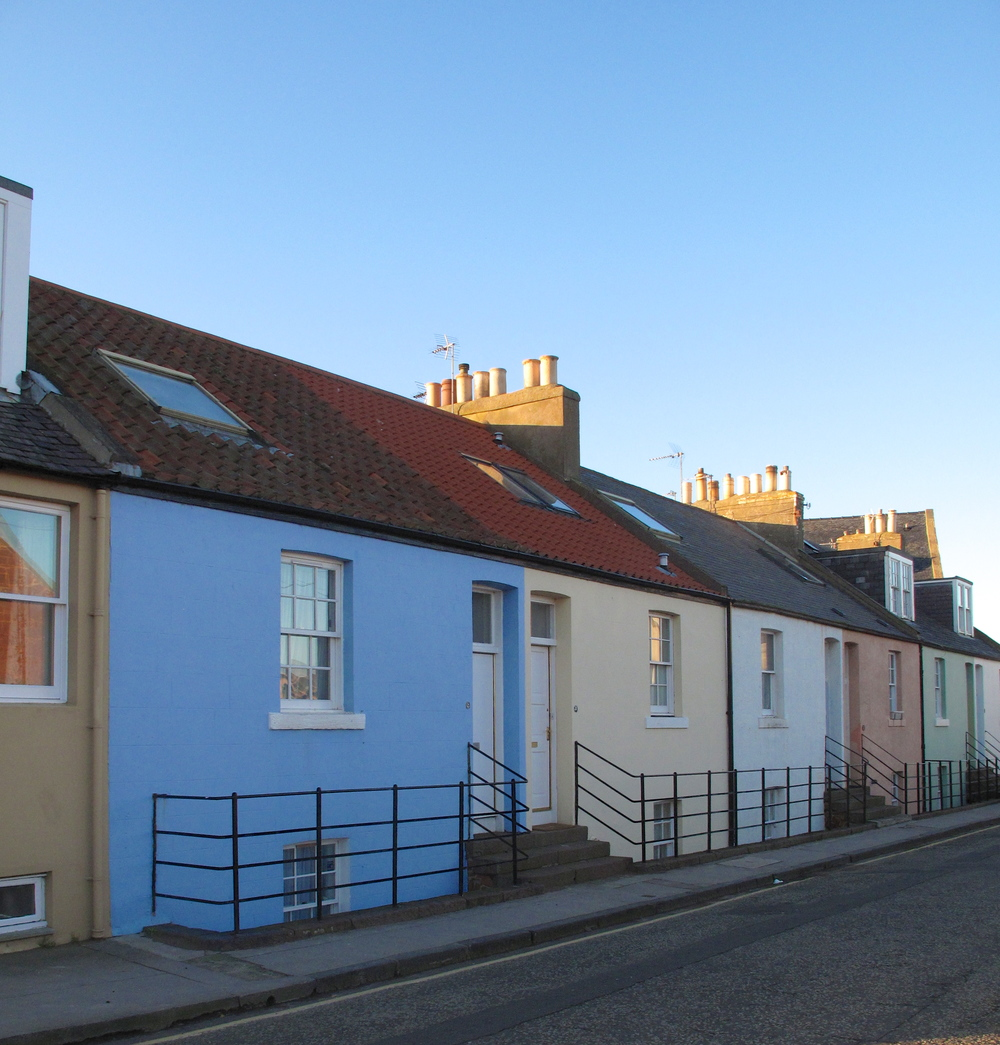 Tiny colourful houses on the Scottish coast of North Berwick.