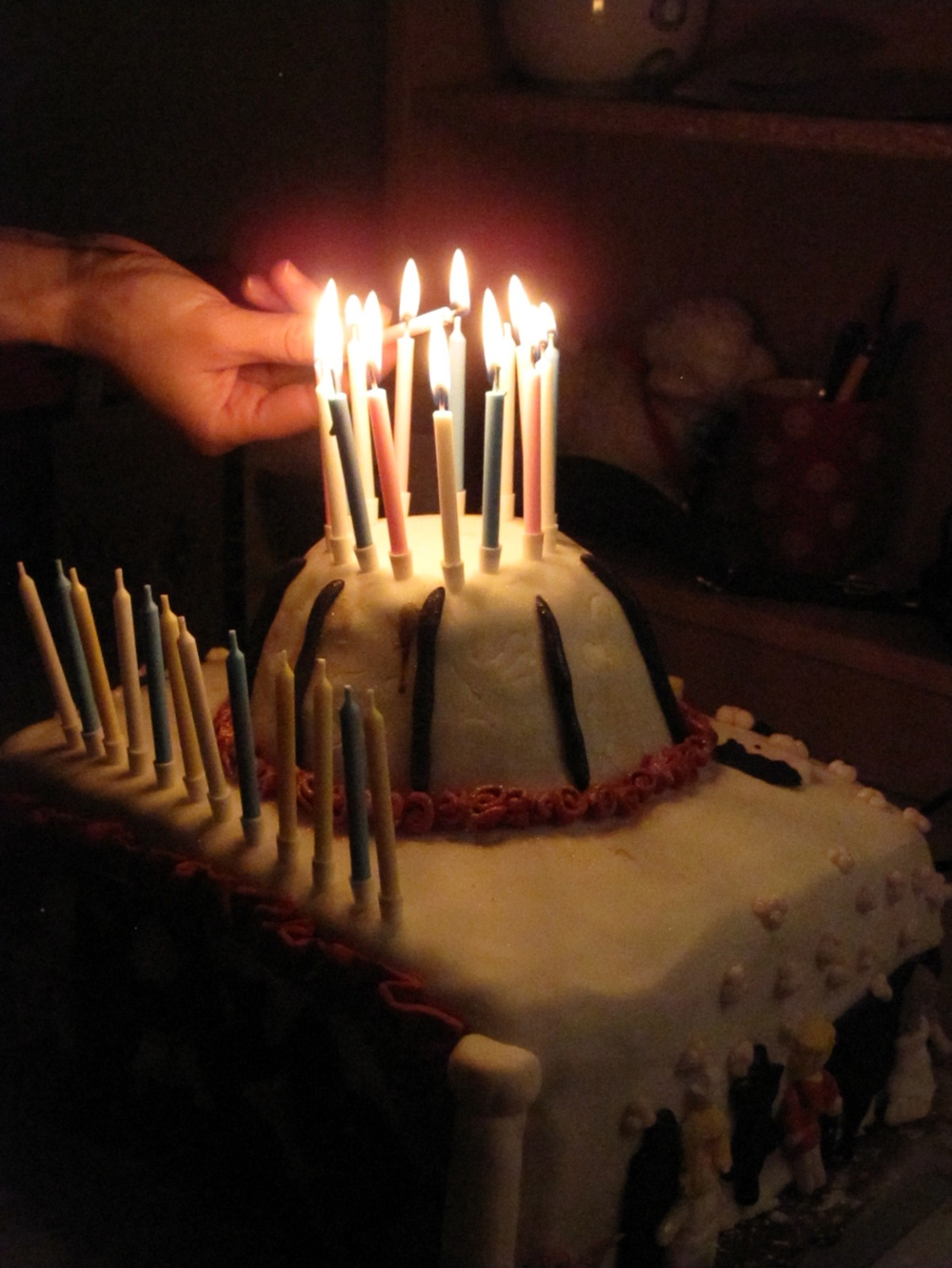 Epic cake with lots of candles.