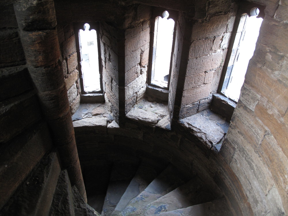 Spiral staircase in stone palace of Linlithgow.