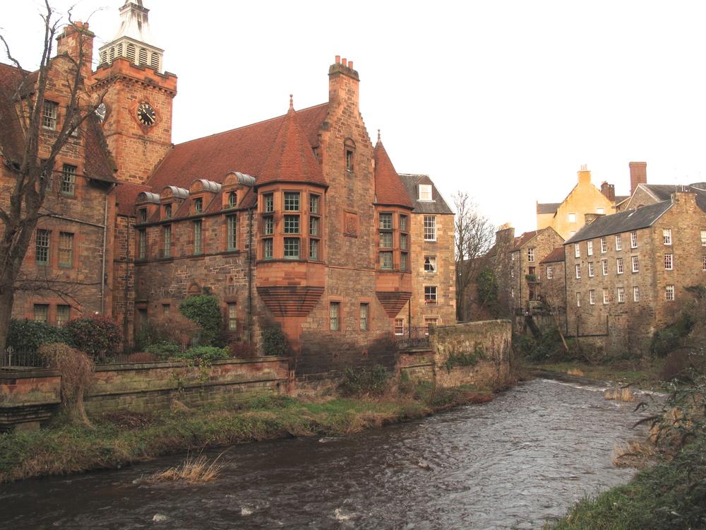 Dean Village in winter, Edinburgh.