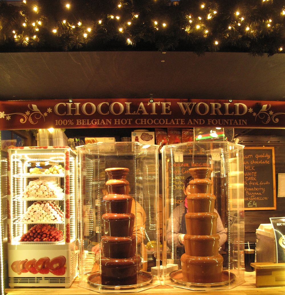 Belgian chocolate waterfall cart at the Edinburgh Christmas Market.