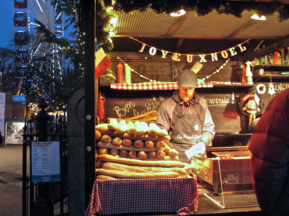 French baguette cart at the Edinburgh christmas market, by the ferris wheel.