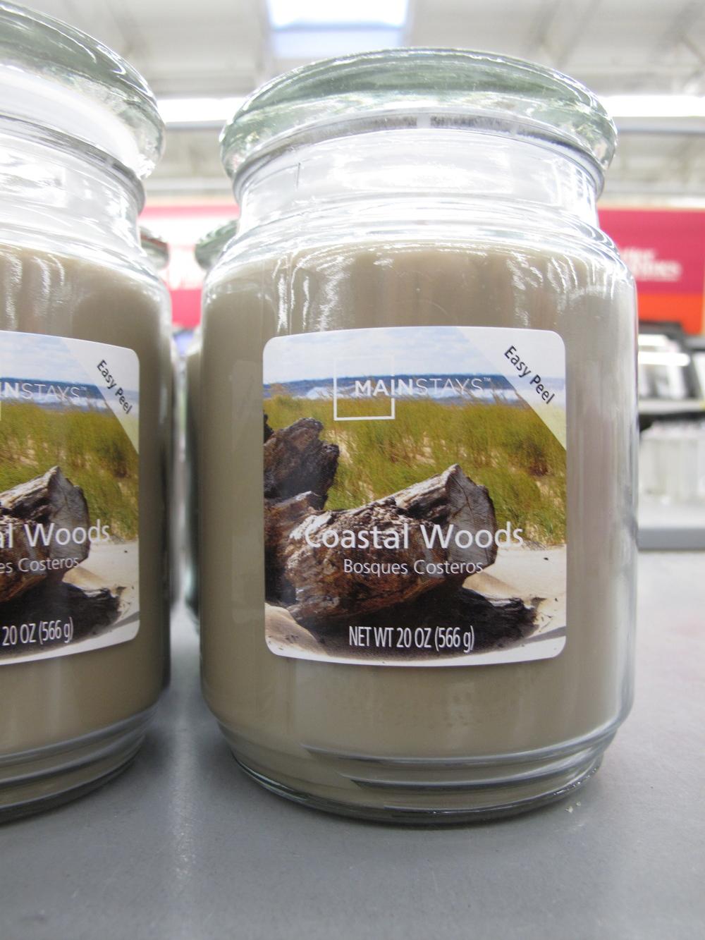 Coastal wood candle at Walmart. Hilarious candle smells.