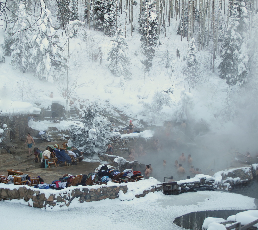 Strawberry Hot Springs at Steamboat - in the winter steam rises from the snow.