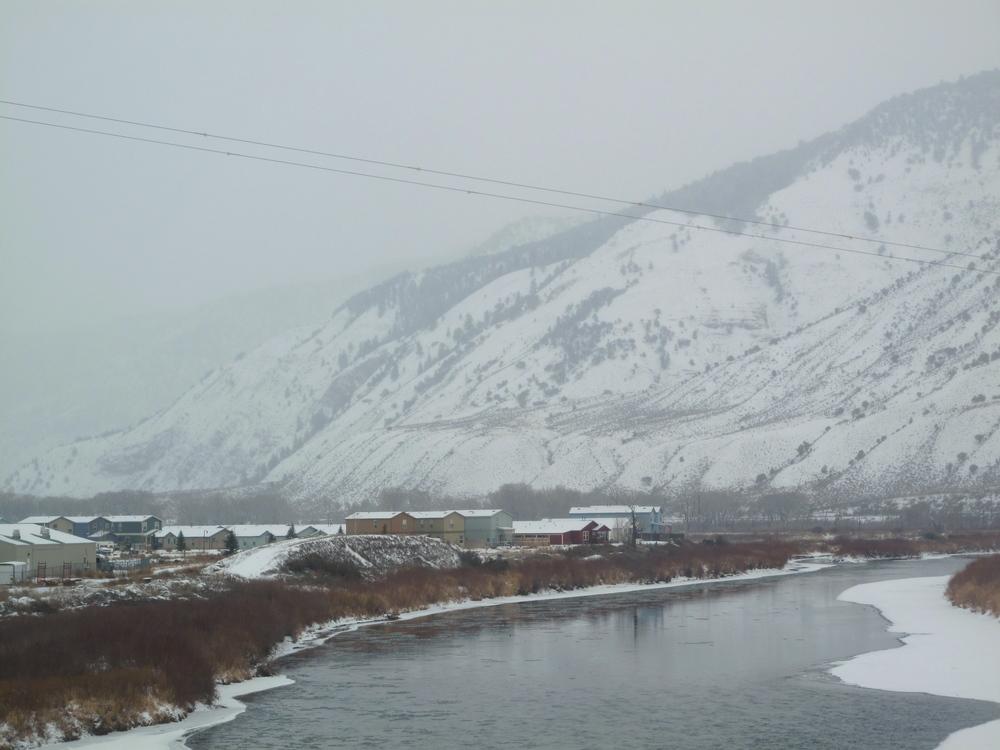 Dotsero village in the winter, by the river,Colorado.