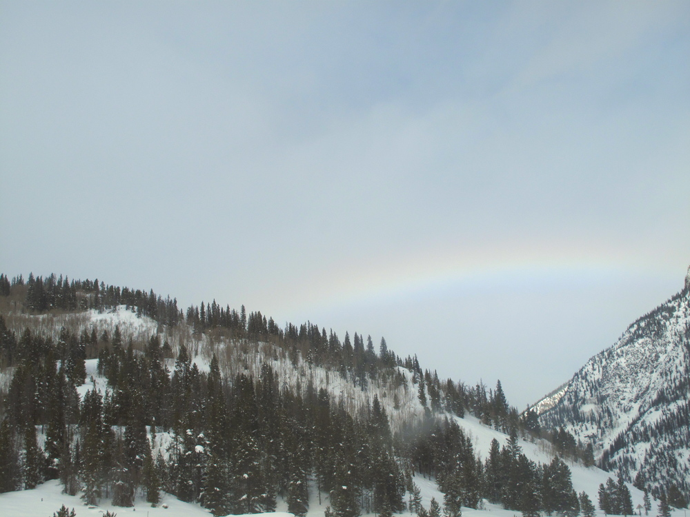 Rainbow over snowy pine tree hills.