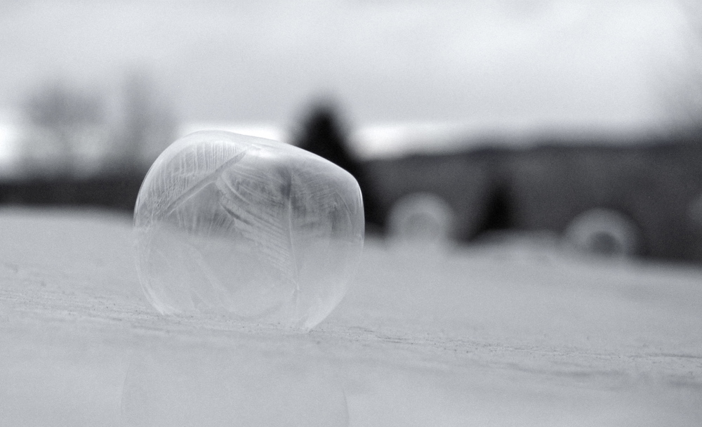 Half deflated frozen bubble with leaf patterns on the hood of a car.