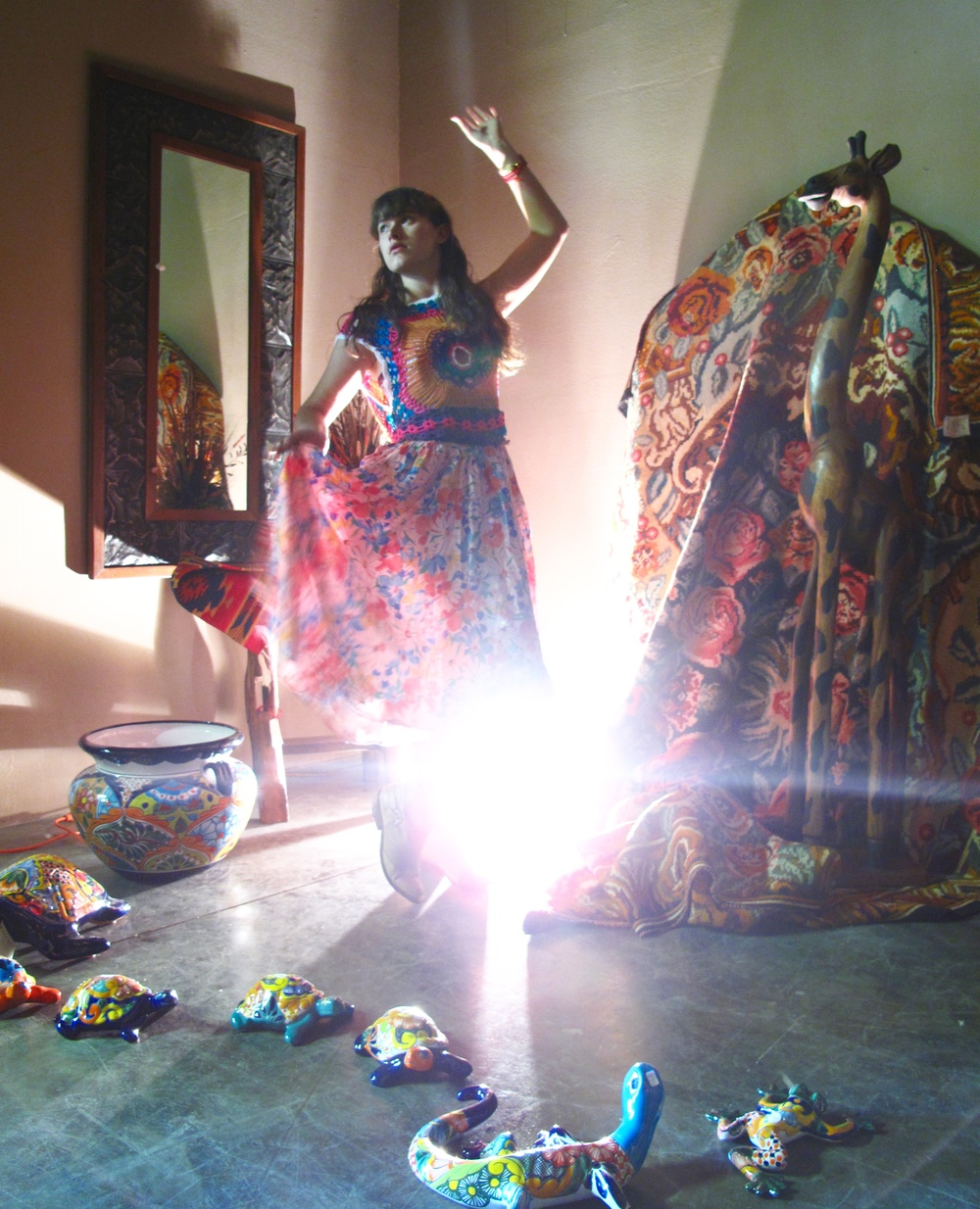 Mexican dancer photo, with colours and a backlight.