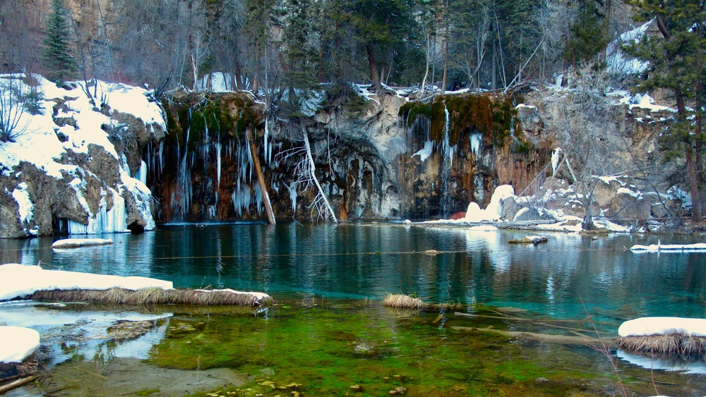 Hanging Lake in the winter - with snow and icicles. One of Colorado's most beautiful places!