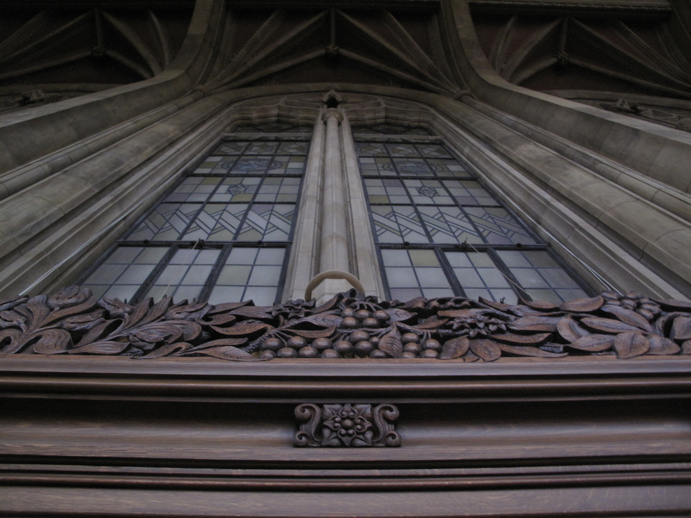 The Reading Room, University of Washington. Windows and wooden panel detail.