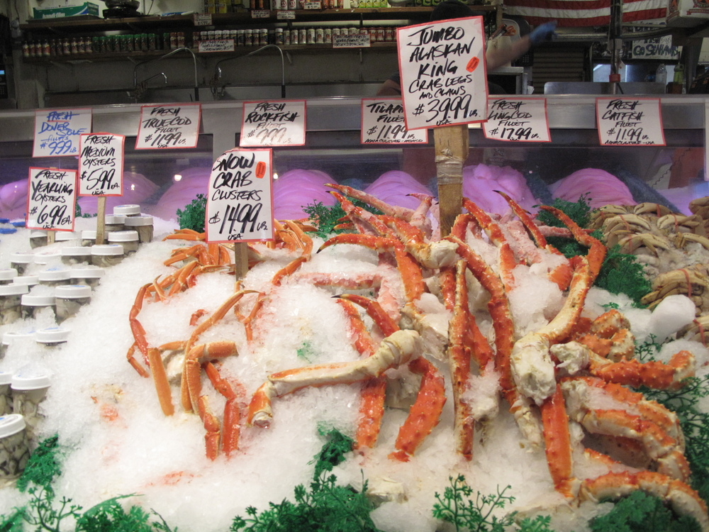 Crab legs at the Pike Place Market in Seattle.