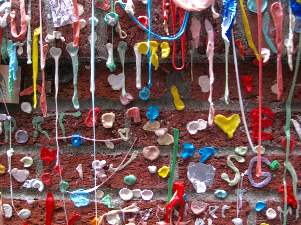 Chewing gum on the Market Theatre Gum Wall, Seattle.