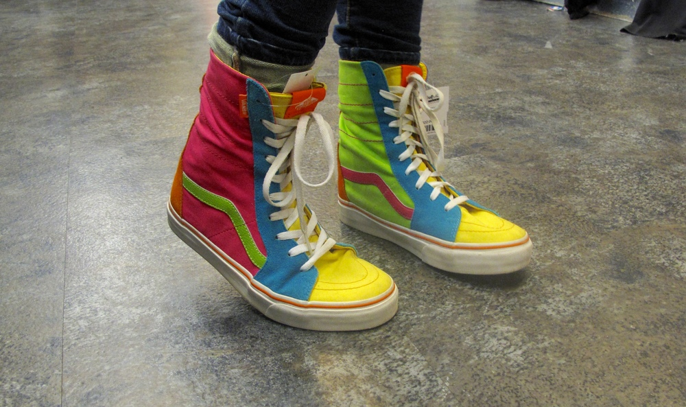 Awesome colourful 90's shoes at a thrift shop in Seattle.