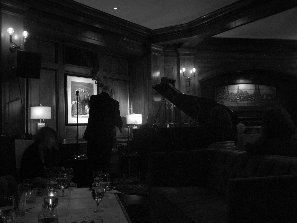 Overton Berry playing in a hotel lobby, Seattle.