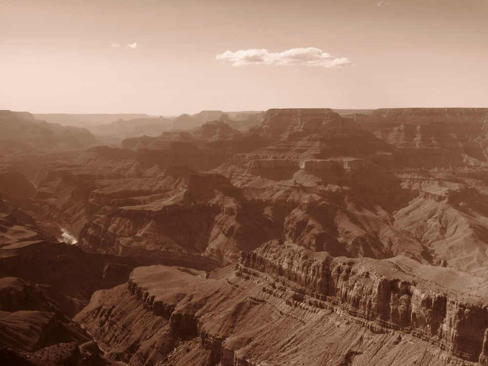 The Grand Canyon in black and white.