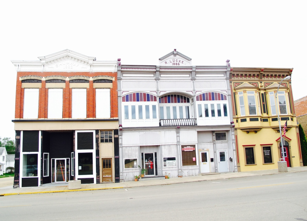 Shops in the tiny town of Lanark, Illinois.