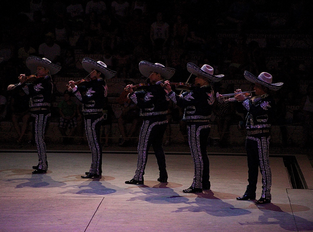 Mariachi style violin players at Xcaret in Mexico.