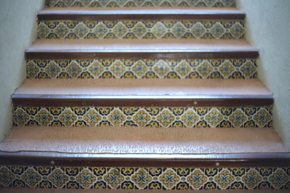 Patterned tiles on the stairs in a Mexican resort.