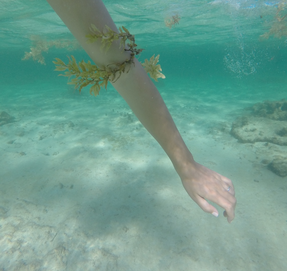Being a mermaid in a turquoise sea, wearing seaweed jewelry.