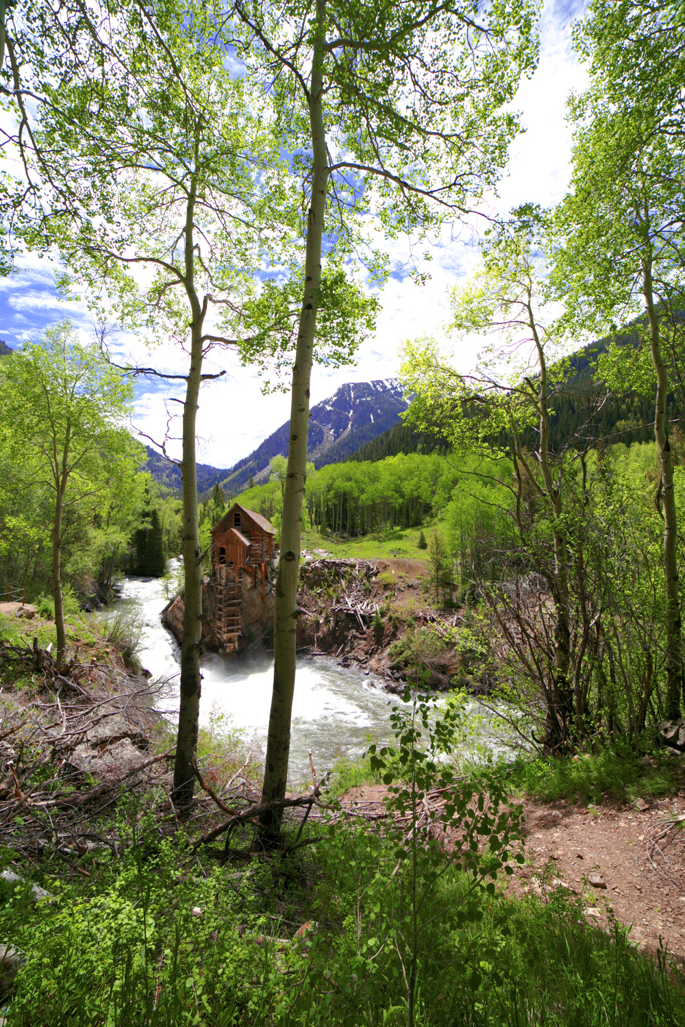 The Crystal Mill framed by two aspen trees in summer.