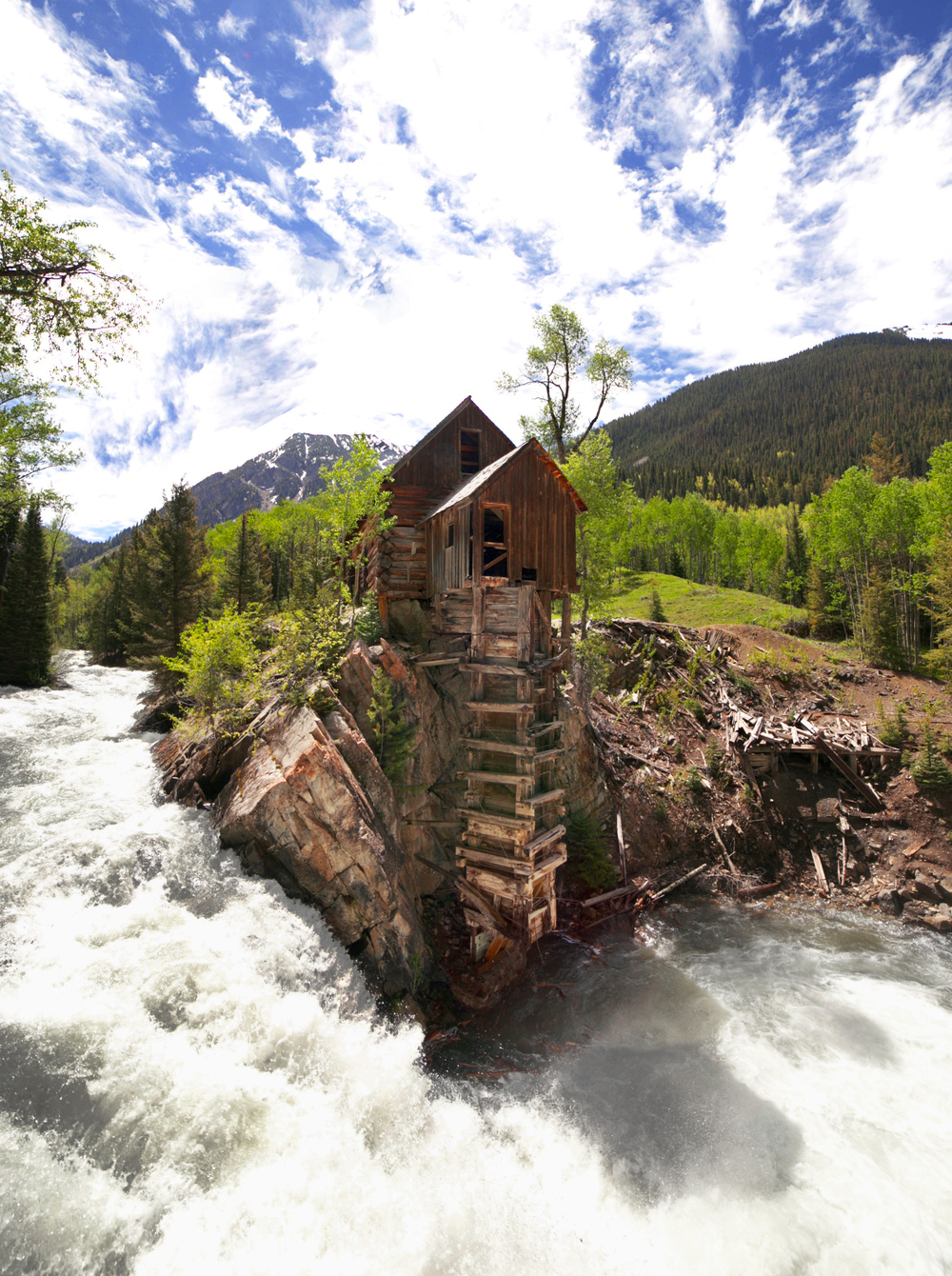 The Crystal Mill and the Crystal River, photographed in summer.