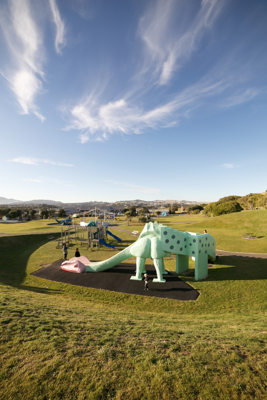 The Dinosaur Park, with the dinosaur slide in Dunedin.
