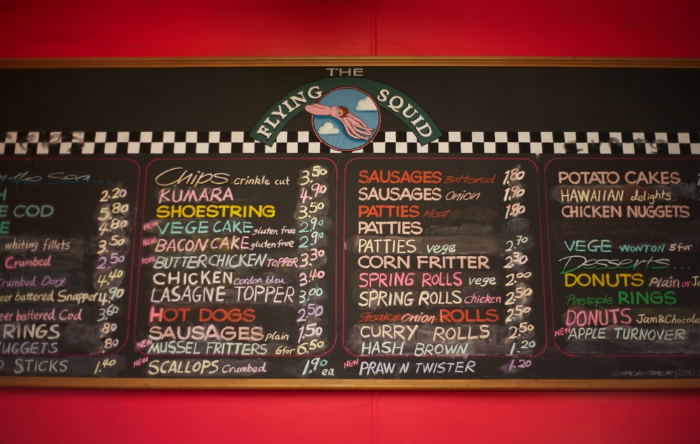 The Flying Squid fish and chips menu in Dunedin, NZ.