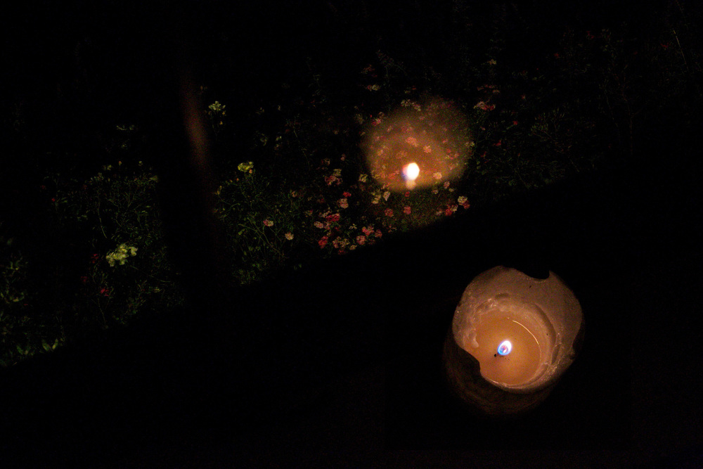 Roses and candles at midnight - reflections of candlelight in the window looking on the garden.