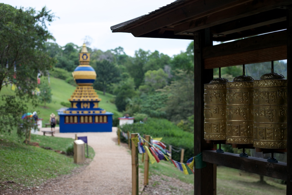 The Peace Stupa and prayer wheels at Crystal Castle.