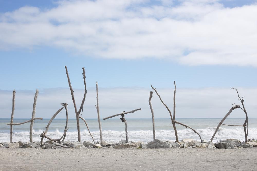 Hokitika sign, New Zealand coast.