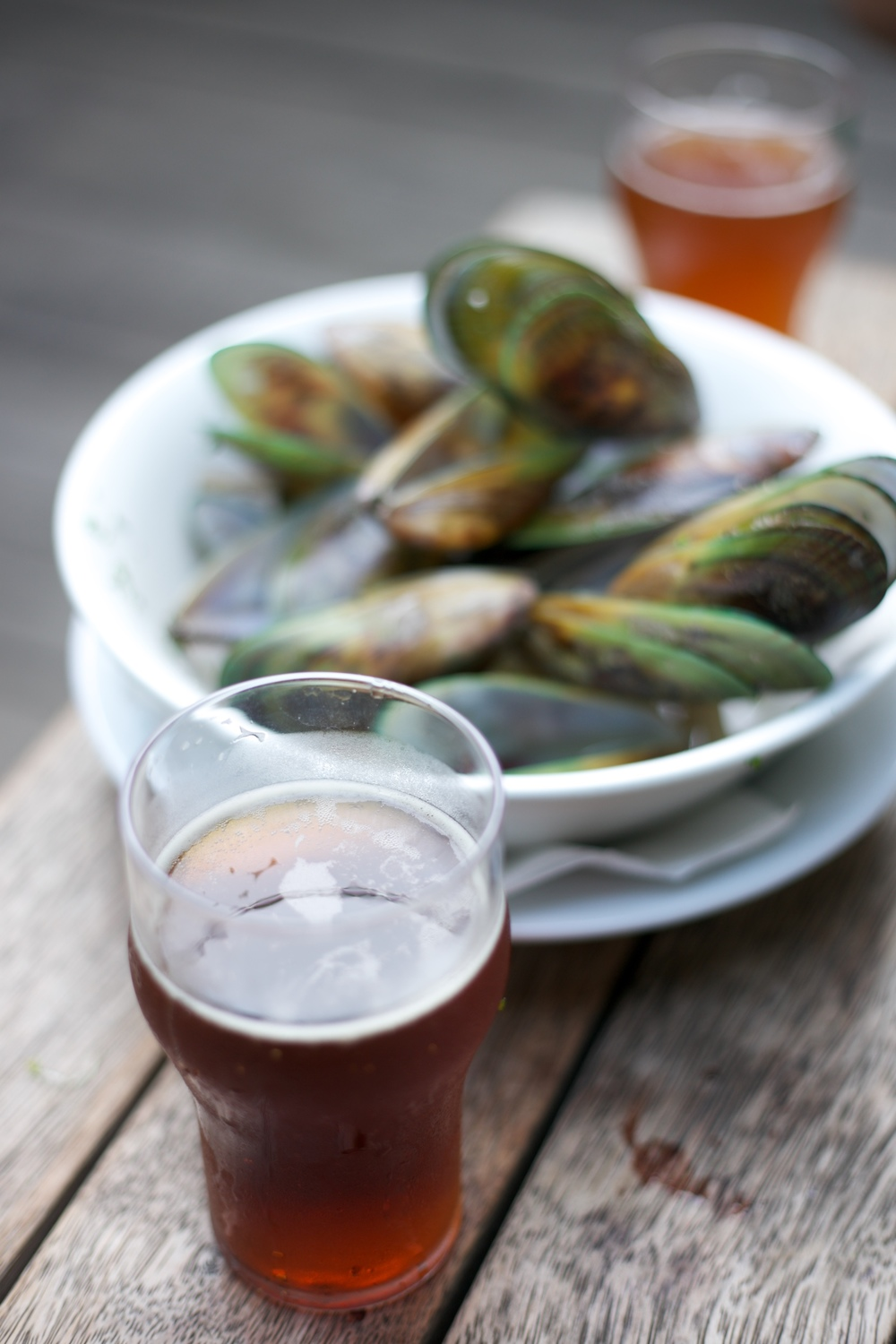 Beer and mussels at the Mussel Inn, Onekaka, NZ.