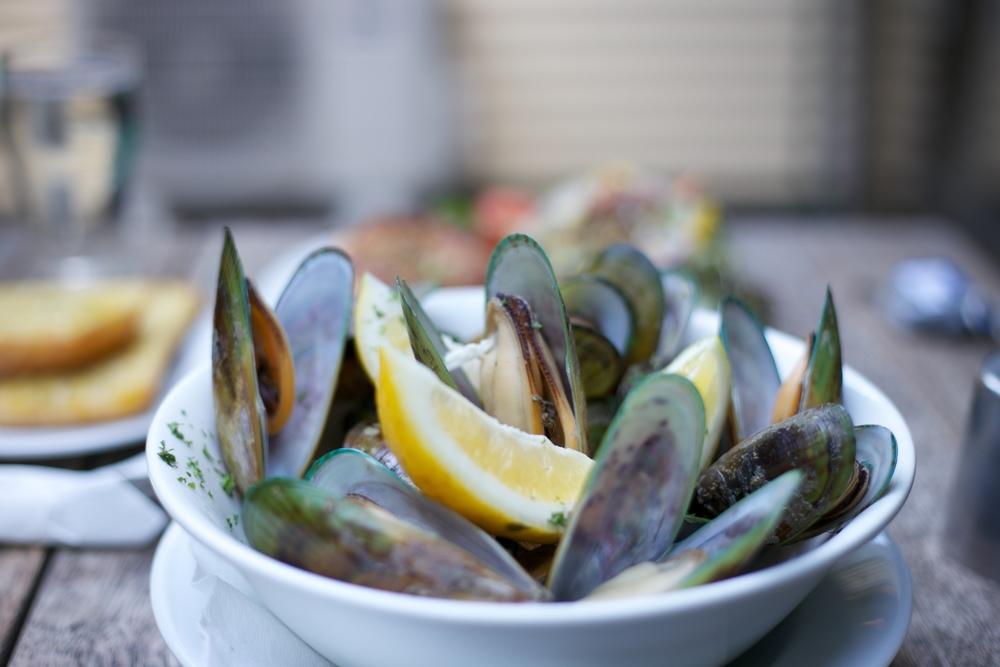 Green Lipped mussels from the Mussel Inn, NZ.