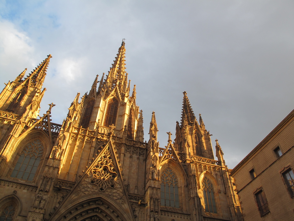 Church in Barcelona lit up by the sunset.